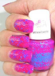 scented polish- hot pink +blue glitter