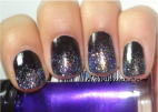 Black nail polish with the super fine iridescent glitter