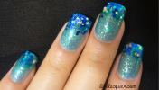 I used Spoiled polish in Use Protection and used the dark blue and holo blue glitter on the tips.
